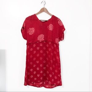 JOHNNY WAS Rare Collection Rose Red Mini Dress